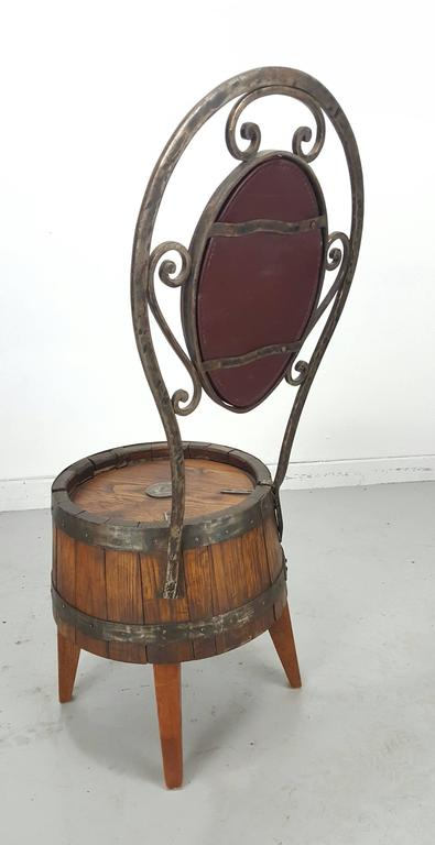 Unusual Set Of Six Whiskey Barrel And Hammered Iron Pub