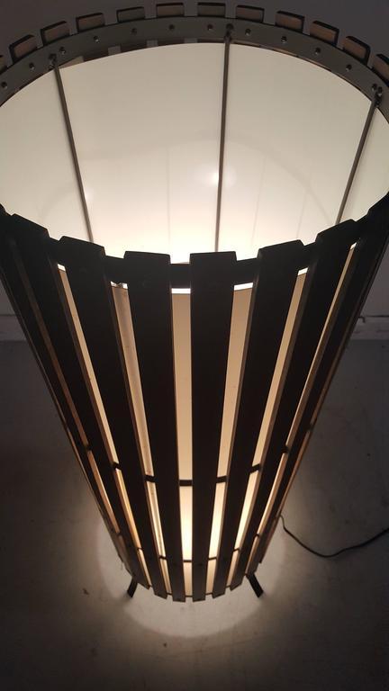 California Modernist Walnut Slat Wood Cylinder Floor Lamp 8