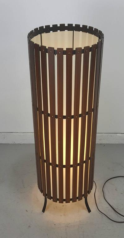 Philippine Contemporary  Modernist Walnut Slat Wood Cylinder Floor Lamp For Sale