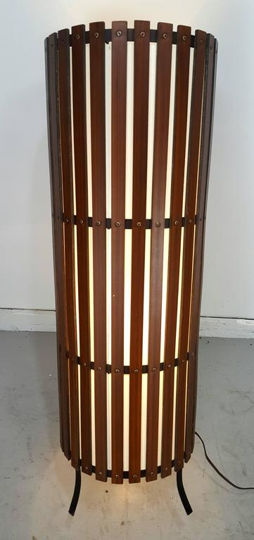 Metal Contemporary  Modernist Walnut Slat Wood Cylinder Floor Lamp For Sale