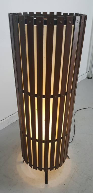 Contemporary  Modernist Walnut Slat Wood Cylinder Floor Lamp For Sale 2