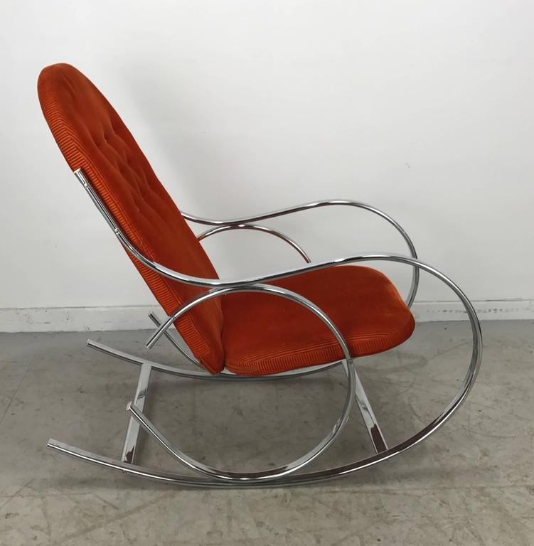 Classic Mid Century Chrome And Fabric Rocking Chair Milo