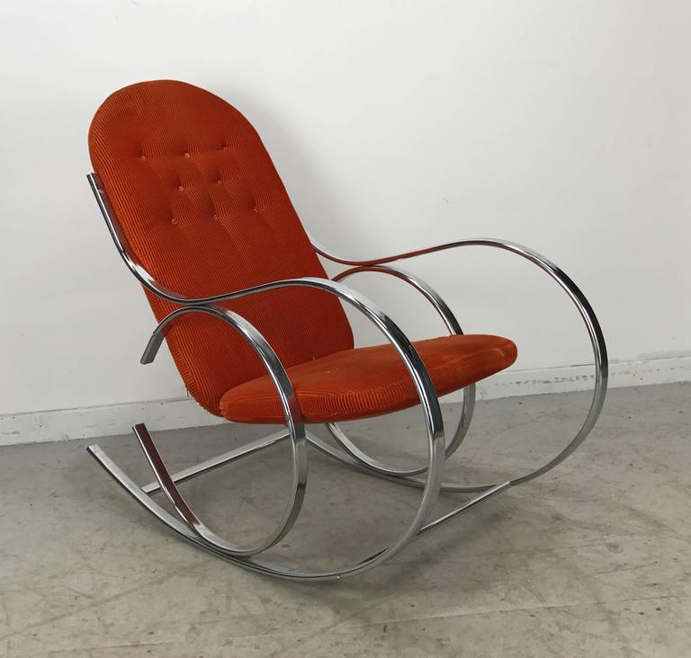 20th Century Classic Mid Century Chrome And Fabric Rocking Chair, Milo  Baughman For Sale