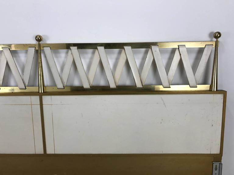 Hollywood Regency King Size Headboard, Leather and Brass, in Style of Parzinger In Good Condition For Sale In Buffalo, NY
