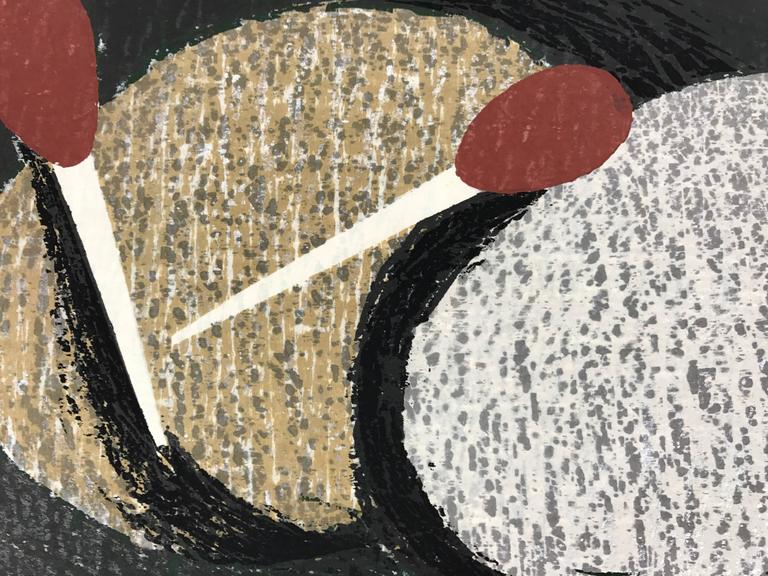"""An original modern Japanese woodblock print by Kaoru Kawano (1916-1965) titled """"Sacred Crane D"""". The print is sealed in the image, pencil signed by the artist below the seal, titled in English and Kanji, and edition 30/200. This print is in very"""