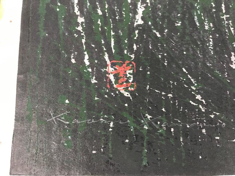 "Organic Modern Japanese Woodblock Print by Kaoru Kawano ""Sacred Crane D"" For Sale"