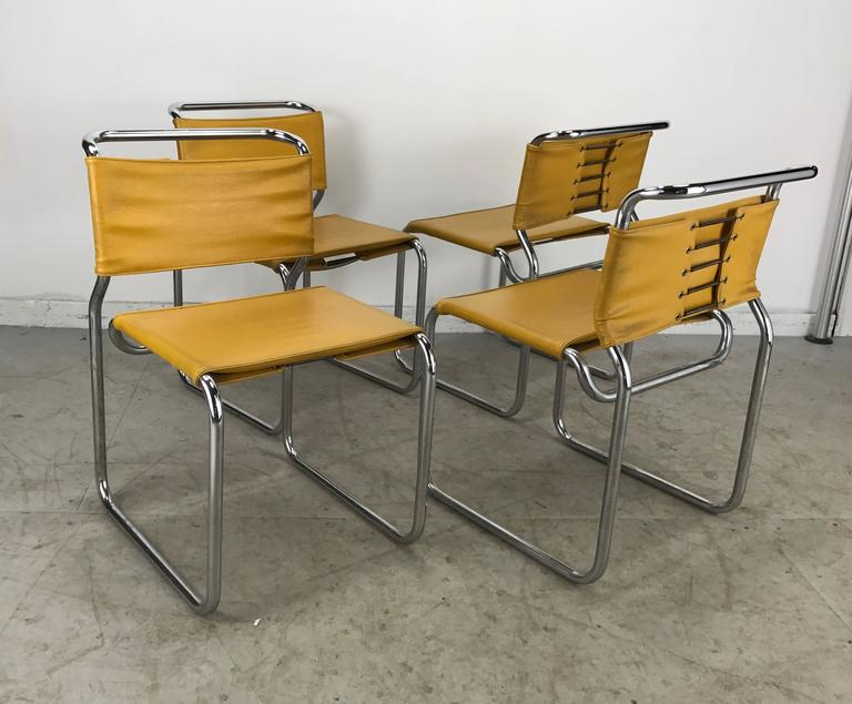 Set of four modernist italian leather and chrome bauhaus for Bauhaus italia