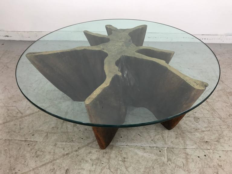 Unusual Organic Cyprus Root And Glass Coffee Table For Sale 5