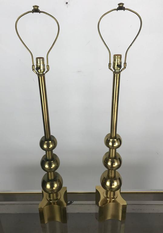 Pair of Brass Table Lamps Attributed Tommi Parzinger, 1970s by Stiffel 7