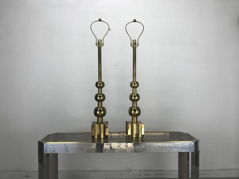 Pair of Brass Table Lamps Attributed Tommi Parzinger, 1970s by Stiffel 2