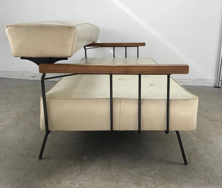 Classic Modernist Iron and Wood Sofa/Daybed in the Manner of  Weinberg-Salterini