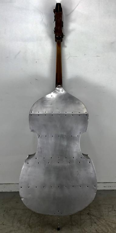 Hand-Crafted Rare Pfretzschner Aluminum Double Bass, Buffalo Ny, Art Deco, Machine Age For Sale