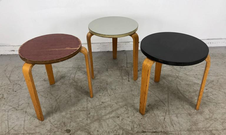 Set Of Three Alvar Aalto Style Bent Wood Stools Or Tables By Thonet 2