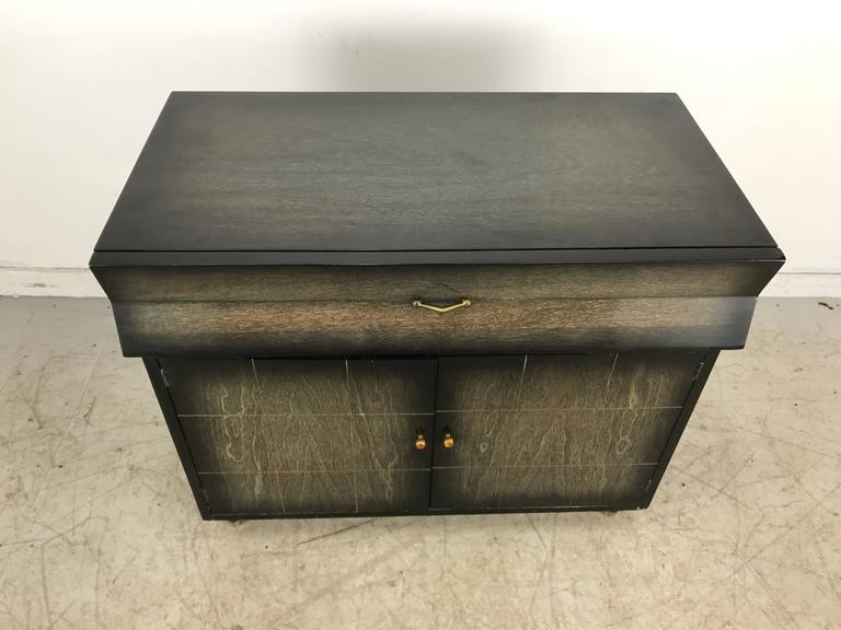 Cerused Mid-Century Modern Dry Bar, Cabinet, Server or Storage For Sale