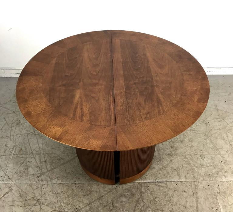 Unusual Cylinder Base Round Expandable Dining Table For