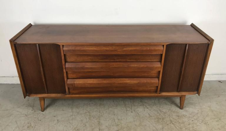 Modernist Server Credenza Two Tone Walnut Finish Made By Lane Furniture Co For Sale At 1stdibs