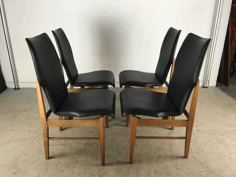 Set Of Four Mid Century Modern High Back Dining Chairs In