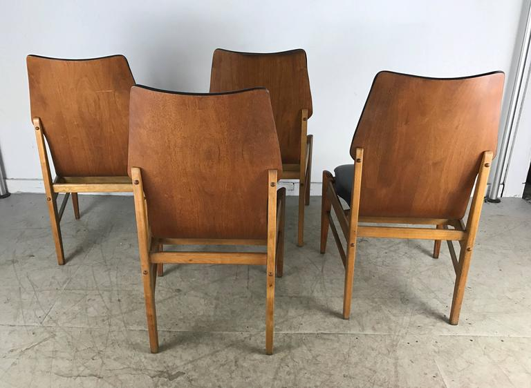 surprising Mid Century Walnut Dining Chairs Part - 17: American Set of Four Mid-Century Modern High Back Dining Chairs in Walnut  by Lane