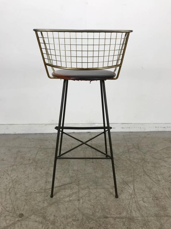 Classic Mid Century Modern Brass And Wire Iron Stool For