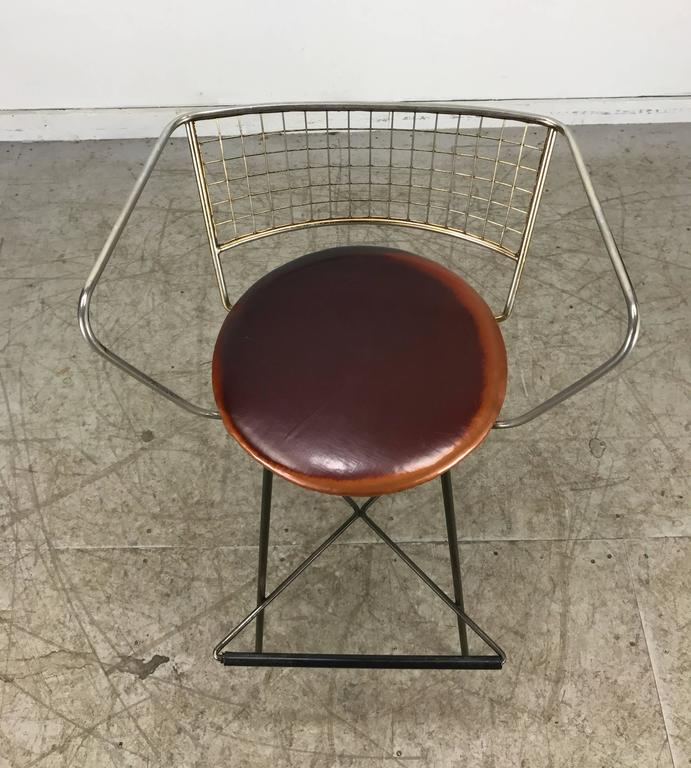 North American Classic Mid-Century Modern Brass and Wire Iron Stool For Sale