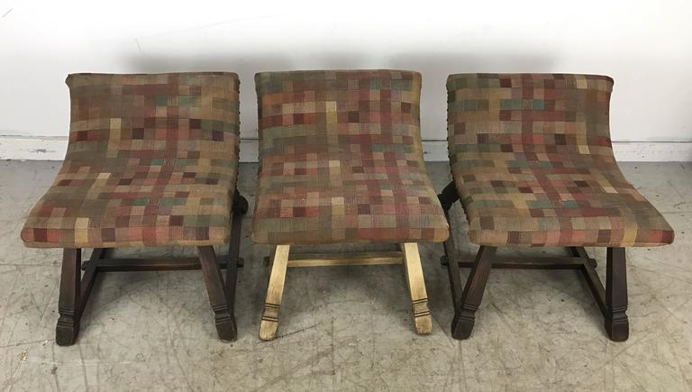 Unusual Set of Three Oak and Fabric Parlor Fireside Stools/Benches, Romweber 4