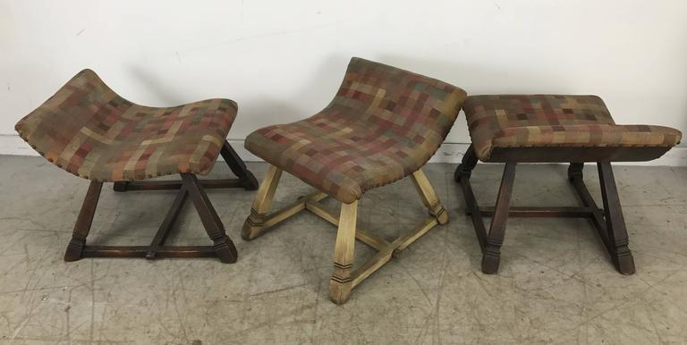 Unusual Set of Three Oak and Fabric Parlor Fireside Stools/Benches, Romweber 6