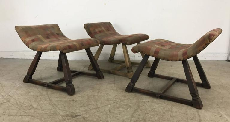 Unusual Set of Three Oak and Fabric Parlor Fireside Stools/Benches, Romweber 7
