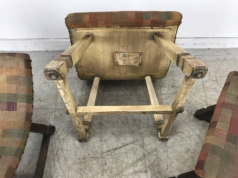 Unusual Set of Three Oak and Fabric Parlor Fireside Stools/Benches, Romweber 8