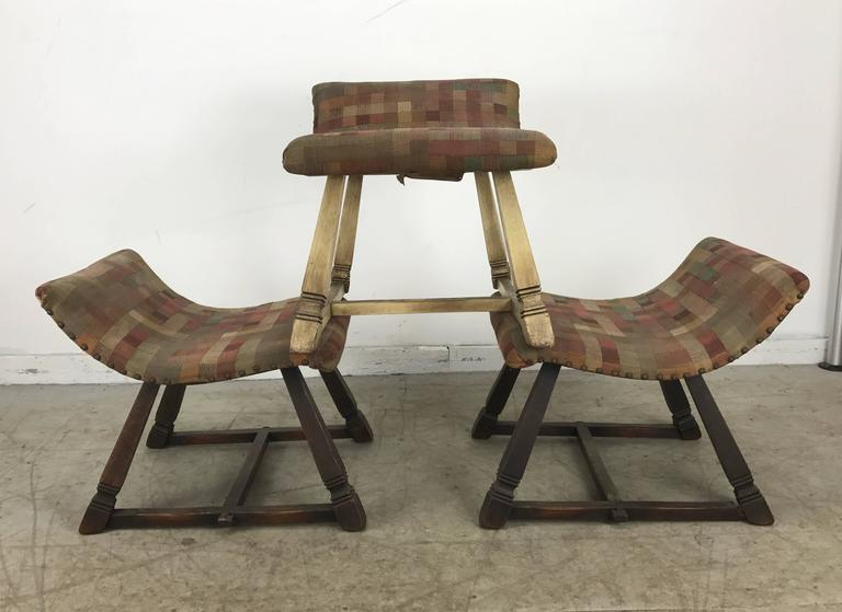 Unusual Set of Three Oak and Fabric Parlor Fireside Stools/Benches, Romweber 3