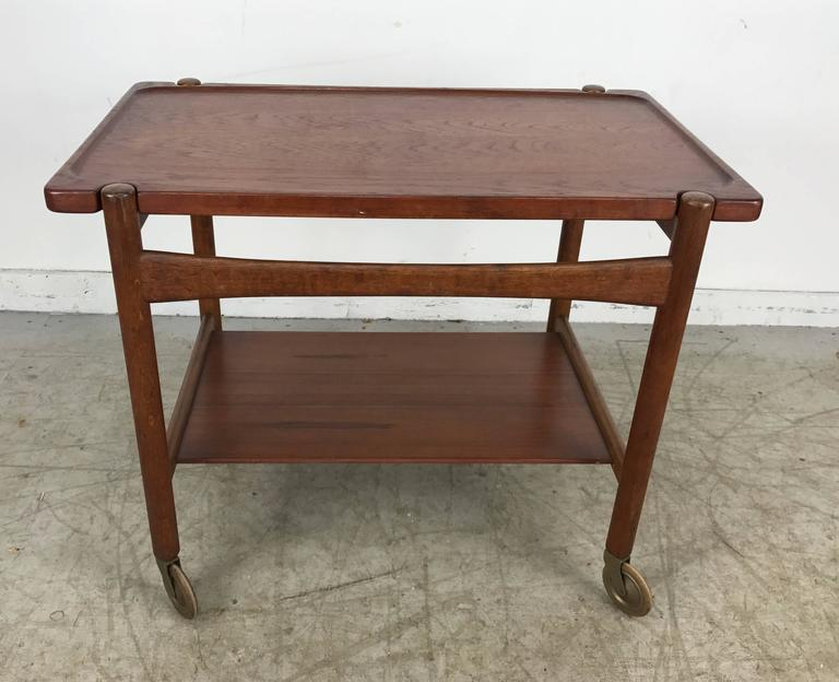 Hans Wegner bar, serving cart, removable tray, made in Denmark Andreas Tuck, Hans. Signed.