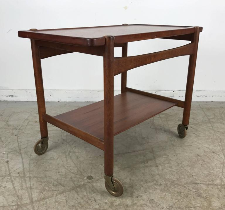 Mid-Century Modern Hans Wegner Bar, Serving Cart, Removable Tray, Made in Denmark Andreas Tuck For Sale