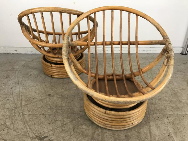 Pair Of Modernist Bamboo Tilt/Swivel Platform Hoop Chairs By Calif Asia For  Sale