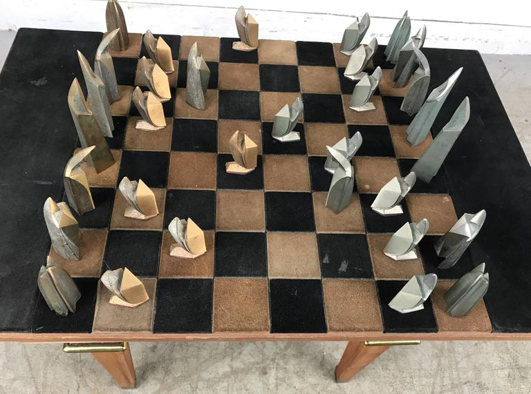 MidCentury Modern Bronze and Suede Chess Set Cubist Art Deco at