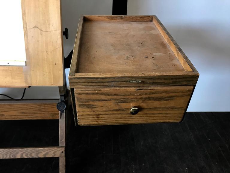 Rare Hamilton Lightbox Drafting Table And Drawer Cast Iron Oak