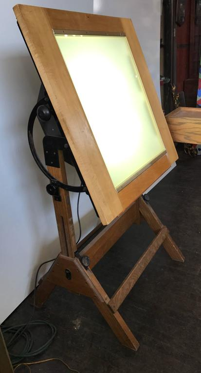 Rare Hamilton Lightbox Drafting Table And Drawer Cast Iron