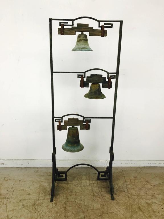 Bronze Three Bell Freestanding Garden Sculpture James