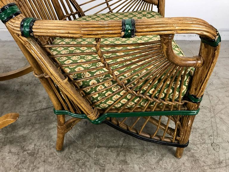 Stunning Pair Of Art Deco Stick Wicker Split Reed Chairs At 1stdibs