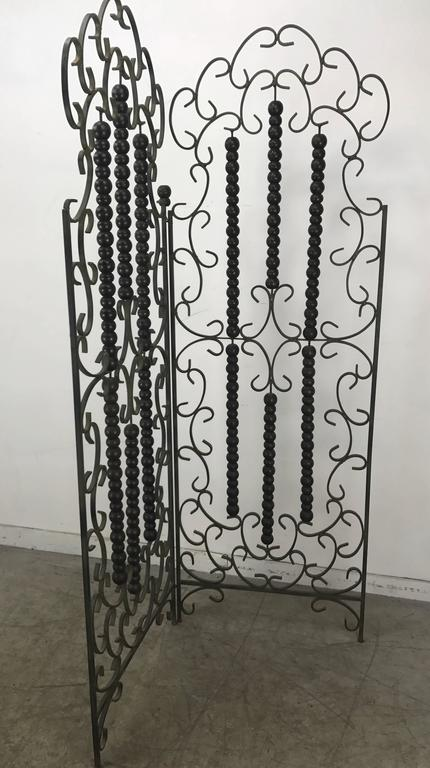 Bronzed Wrought Iron and Wood Mediterranean Modern Folding Screen or Divider For Sale