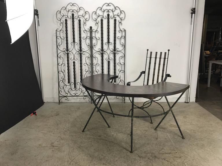 Wrought Iron and Wood Mediterranean Modern Folding Screen or Divider In Excellent Condition For Sale In Buffalo, NY
