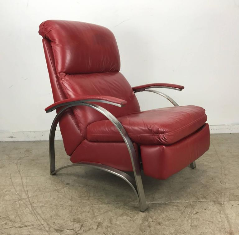 Contemporary Red Leather And Chrome Three Position