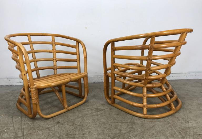 Pair Of Art Deco Bamboo Armchairs By Ritts Tropitan Paul