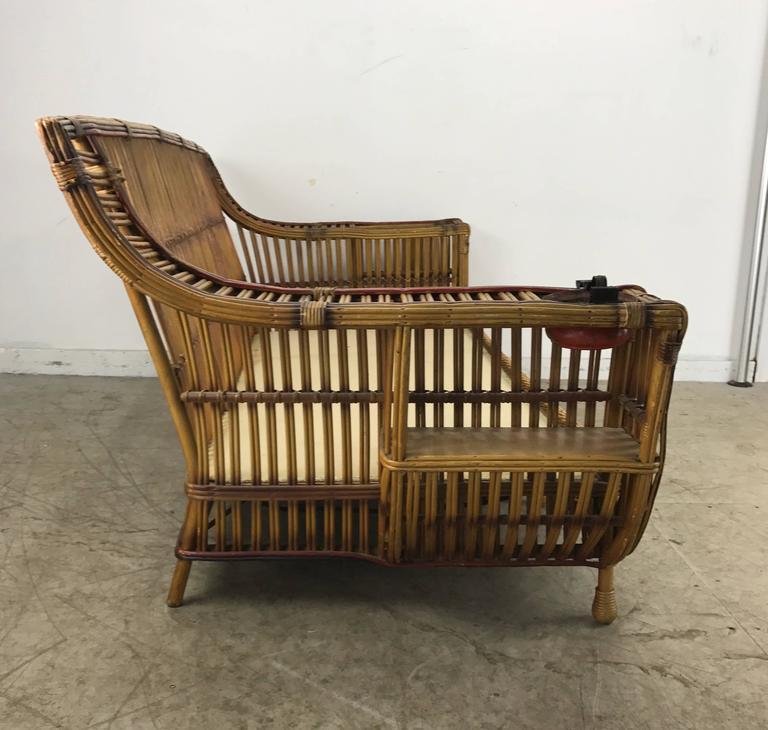 Art deco split reed stick wicker three seat sofa by for Wicker reed