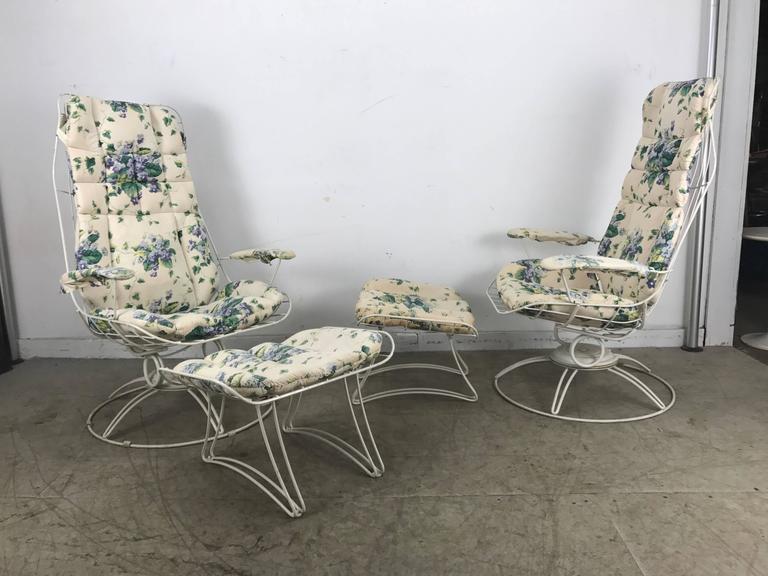 Pair Of Modernist Iron Tilt Swivel Lounge Garden Chairs