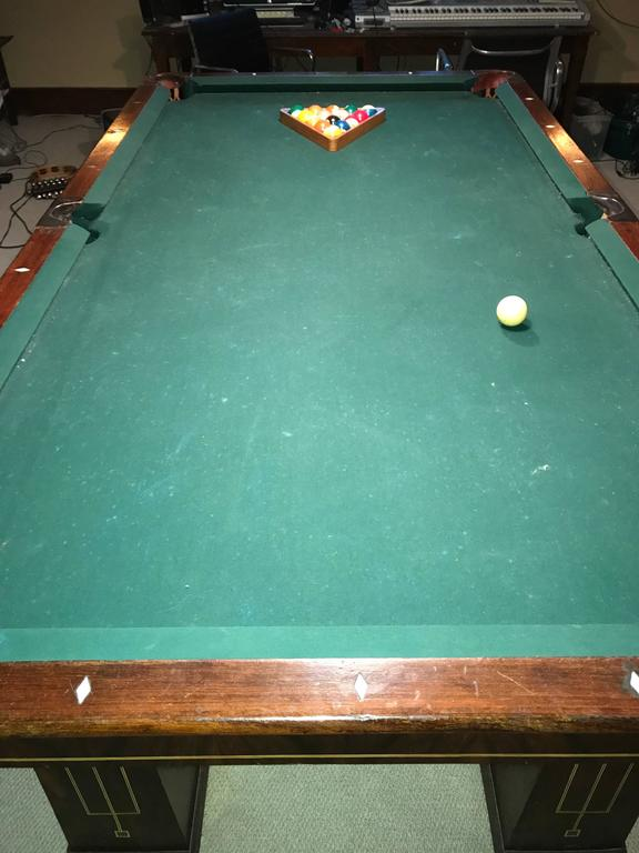 Slate Rare 1918 Brunswick Balke Collender Arts & Crafts Pool Table, Rosewood For Sale