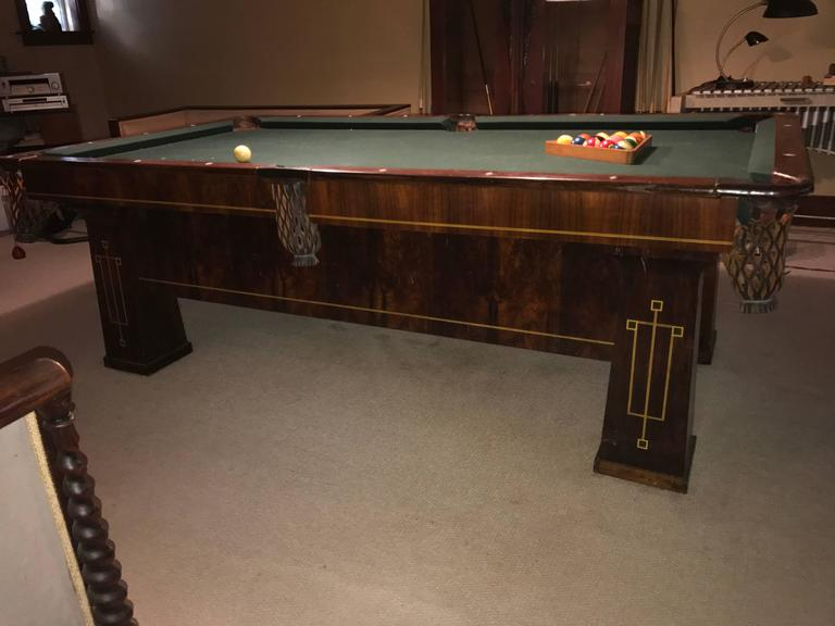Arts and Crafts Rare 1918 Brunswick Balke Collender Arts & Crafts Pool Table, Rosewood For Sale