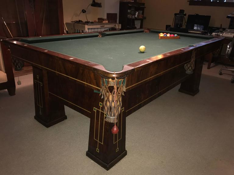 American Rare 1918 Brunswick Balke Collender Arts & Crafts Pool Table, Rosewood For Sale