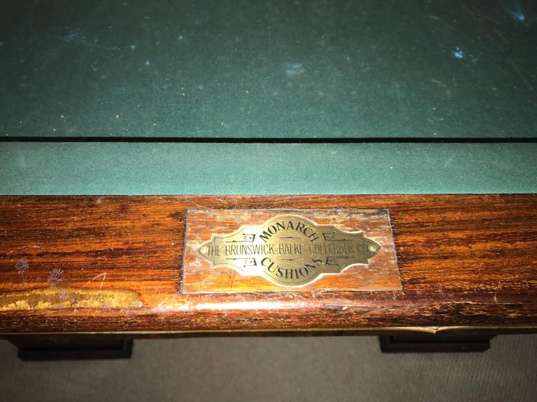 Rare 1918 Brunswick Balke Collender Arts & Crafts Pool Table, Rosewood For Sale 1