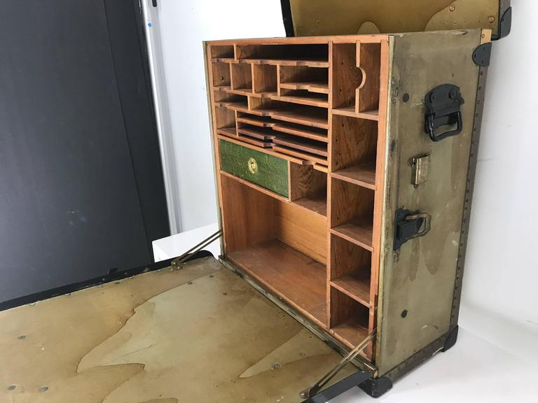 20th Century Unusual Portable Ww1 Field Desk Suitcase, Multi-Slots /Drawer by Rogers Madison For Sale