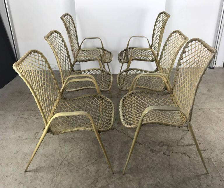 Mid-Century Modern Set of Six Resin String Chairs, Modernist Indoor / Outdoor by Troy Sunshade For Sale
