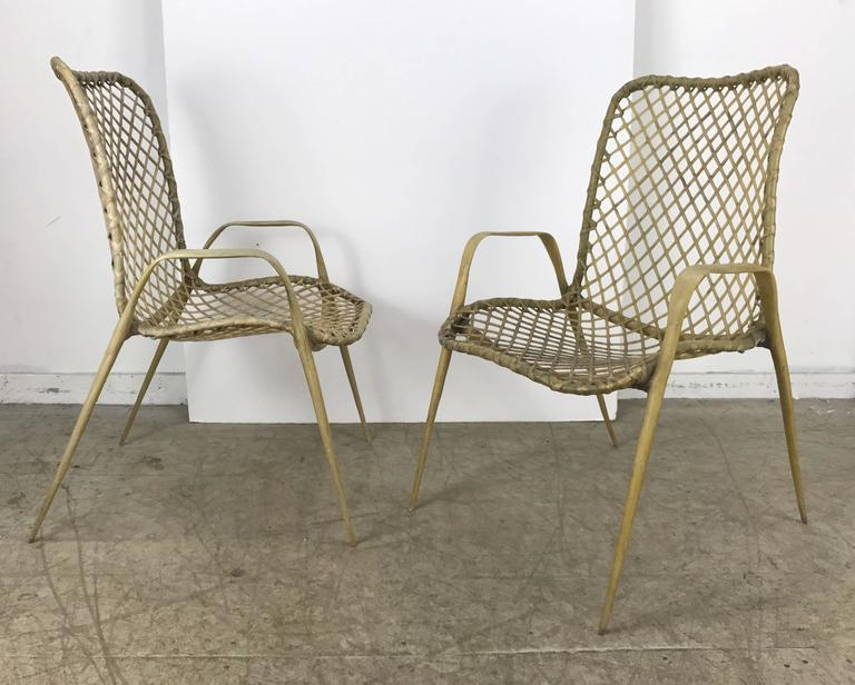 American Set of Six Resin String Chairs, Modernist Indoor / Outdoor by Troy Sunshade For Sale